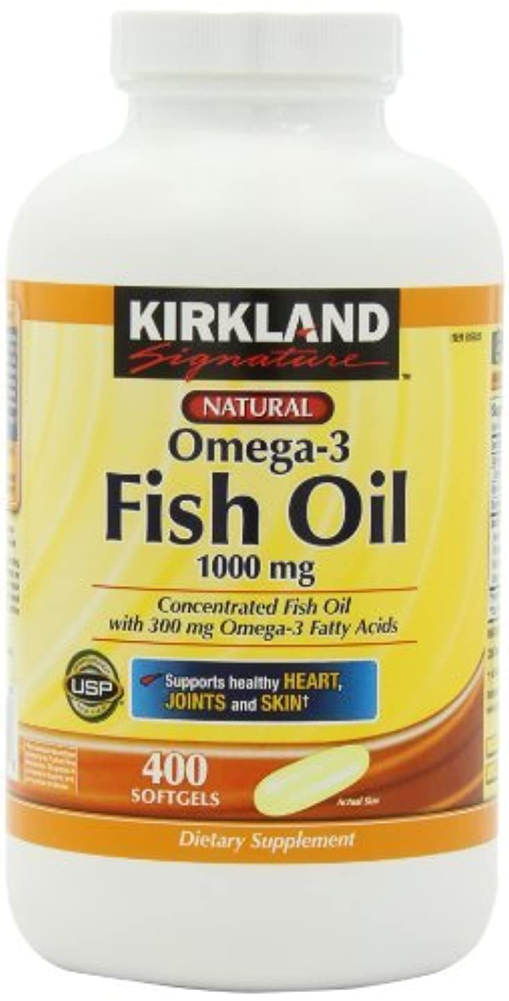 ペンサドル服を着るKirkland Signature Omega-3 Fish Oil Concentrate 1000 mg Fish Oil with 30% Omega-3s (300 mg)?つ, 1,200 SoftGels...