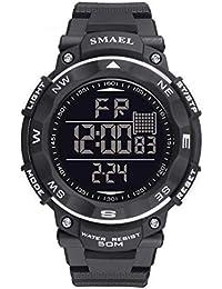 デジタル腕時計 子供腕時計 日本ムーブメント 日本クオーツ 防水 カーボンケース ジョギング ホワイト