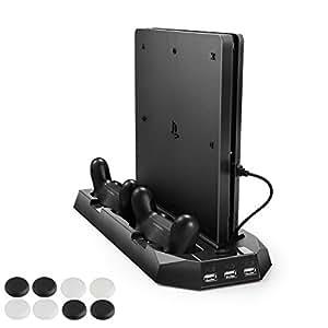 新型PS4スリム ps4 両用 縦置きスタンド PECHAM ファン付 コントローラ2台充電 USBハブ3ポート 1年保証 ブラック