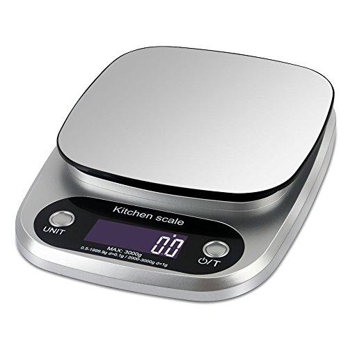 OPPSK デジタルクッキングスケール 0.1gから3kgまで計量可能 風袋引き機能 キッチンスケール 日本語取扱説明書付 デジタルスケール