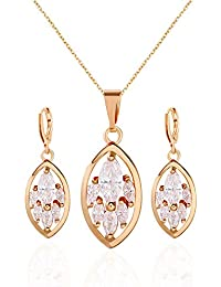 Worry-Free Shopping 14K Gold-Plated Oval Shape Pendant Dangle Earring+Necklace Set