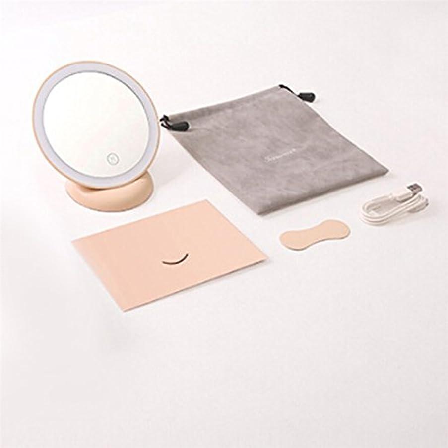 バウンス定規組立Firlar 壁掛けメイクミラー LED化粧鏡 浴室鏡 手鏡 卓上鏡 曇らないミラー 吸盤ロック付き 360度回転 (ピンク)