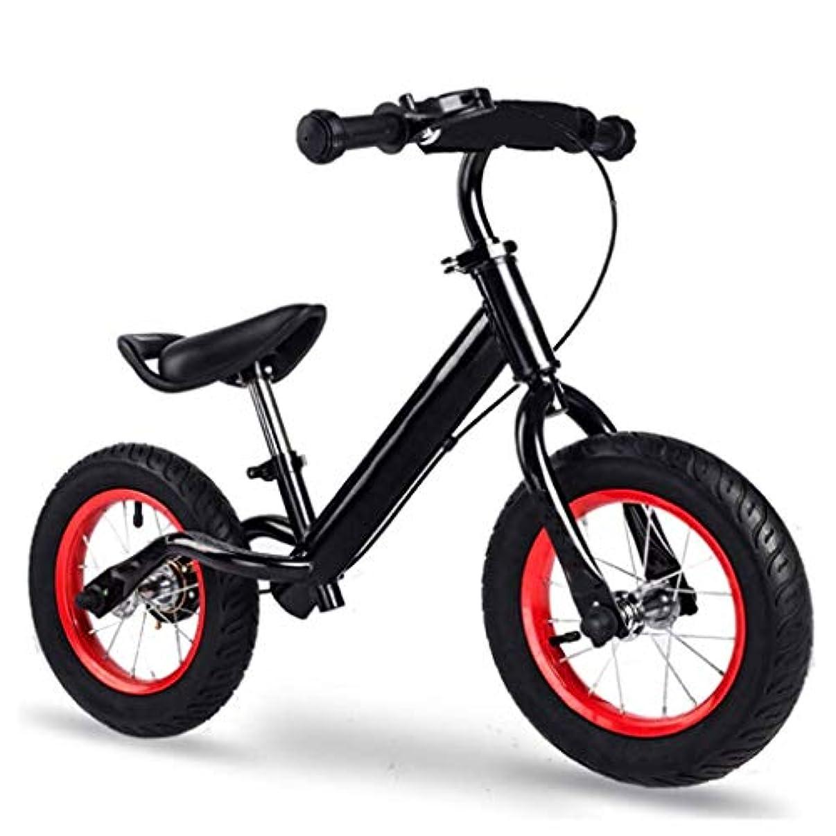免疫未使用蒸し器子供用バランスバイク軽量カーボンスチールフレームと調整可能なシートを備えたトレーニング自転車を実行するペダルなし ( Color : Black , Size : B )