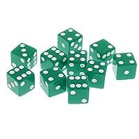 Fityle 10個 6面 ダイス 数字 サイコロ RPGゲーム用 おもちゃ テーブルゲーム 玩具 全10色可選 - 緑