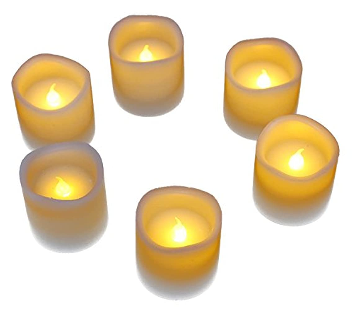 フィードオン本体マングルLED Flameless CandlesちらつきバッテリーOperated Flameless Waxキャンドル – 6 Pieceセット – リアルなMelted Votiveデザイン2 x 2インチ