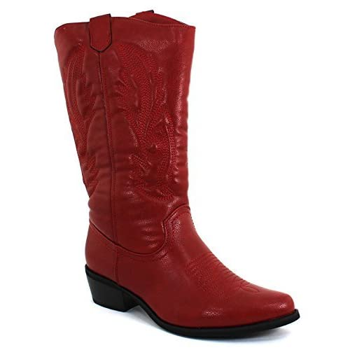 Pierre Dumas Women's Cowgirl 5 Red Synthetic Boots 6 B(M) US [並行輸入品]