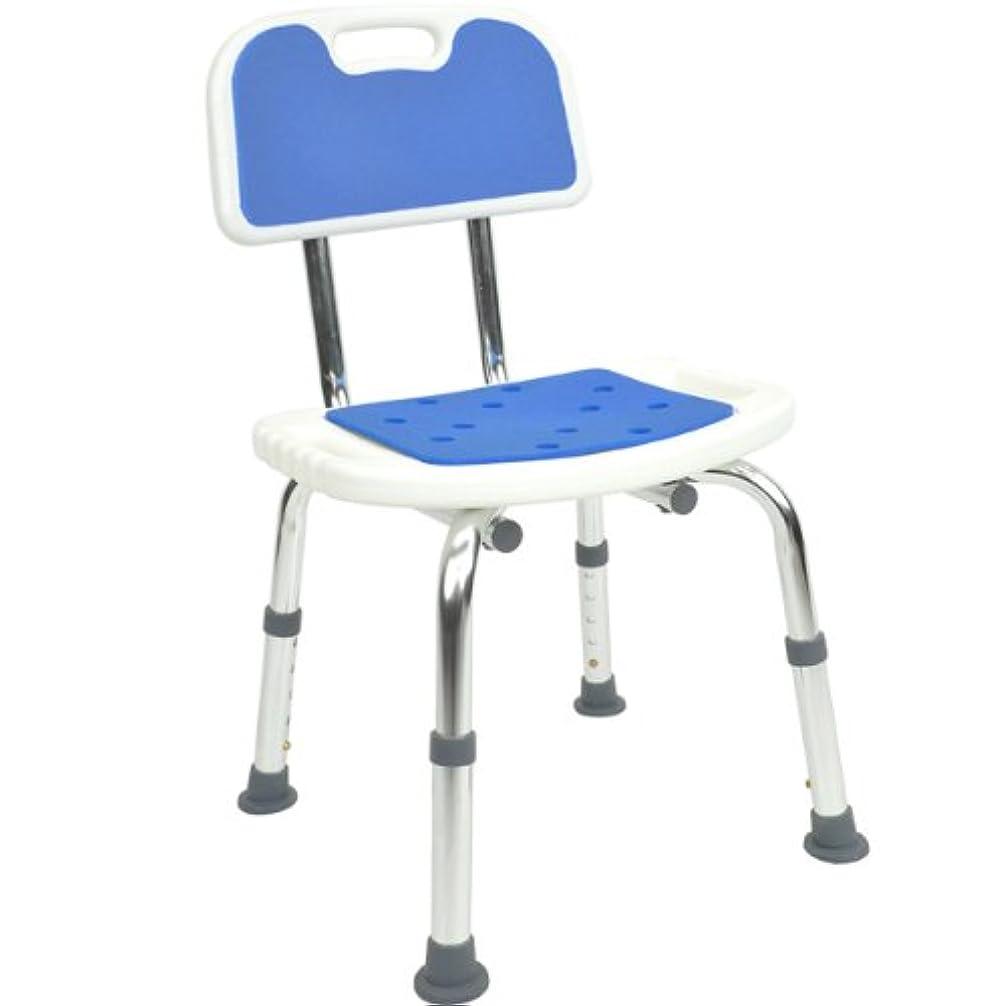 アーサーコナンドイル救援キネマティクス背もたれ付お風呂椅子 (高座高タイプ?高さ5段階調節) 軽量アルミ製 ブルー色