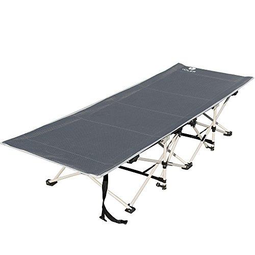 YOLER キャンピングベッド 簡易ベッド アウトドアコット フルフラット 折りたたみ コンパクト ワイドサイズ お昼寝 来客 キャンプ BBQなどアウトドアベッド (グレー)