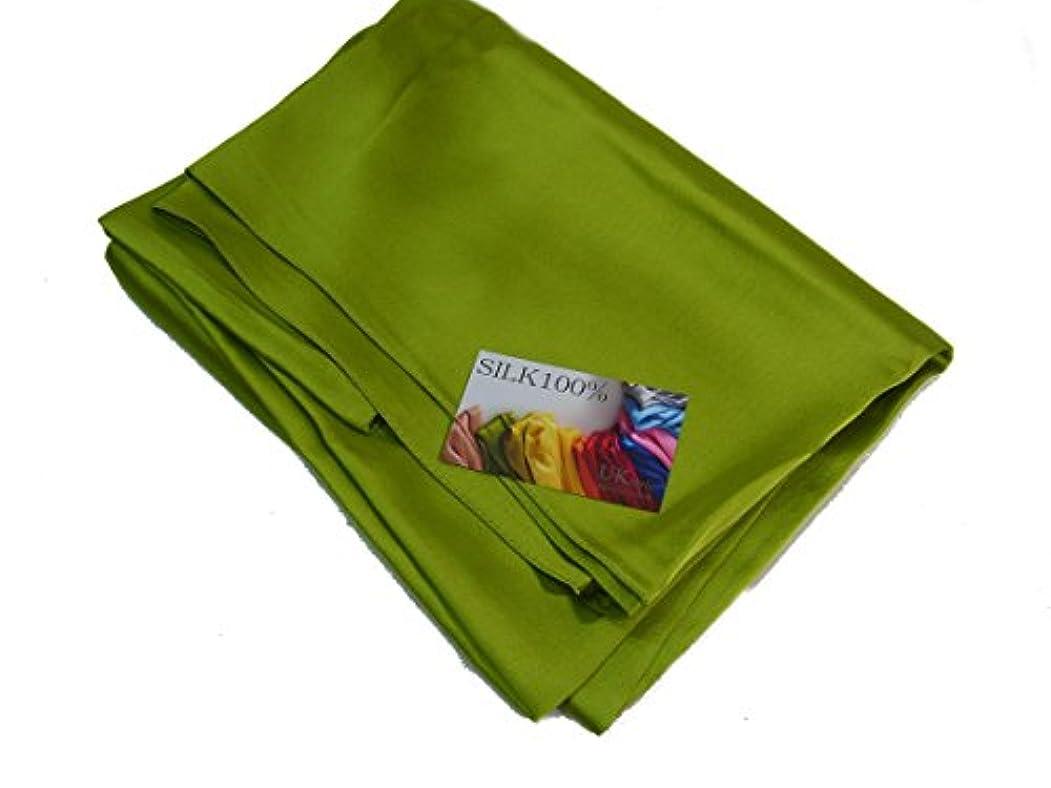ホバー折ジョガーsilk100% シルク100% 大判 ストール スカーフ マフラー 180×145センチ 緑 グリーン