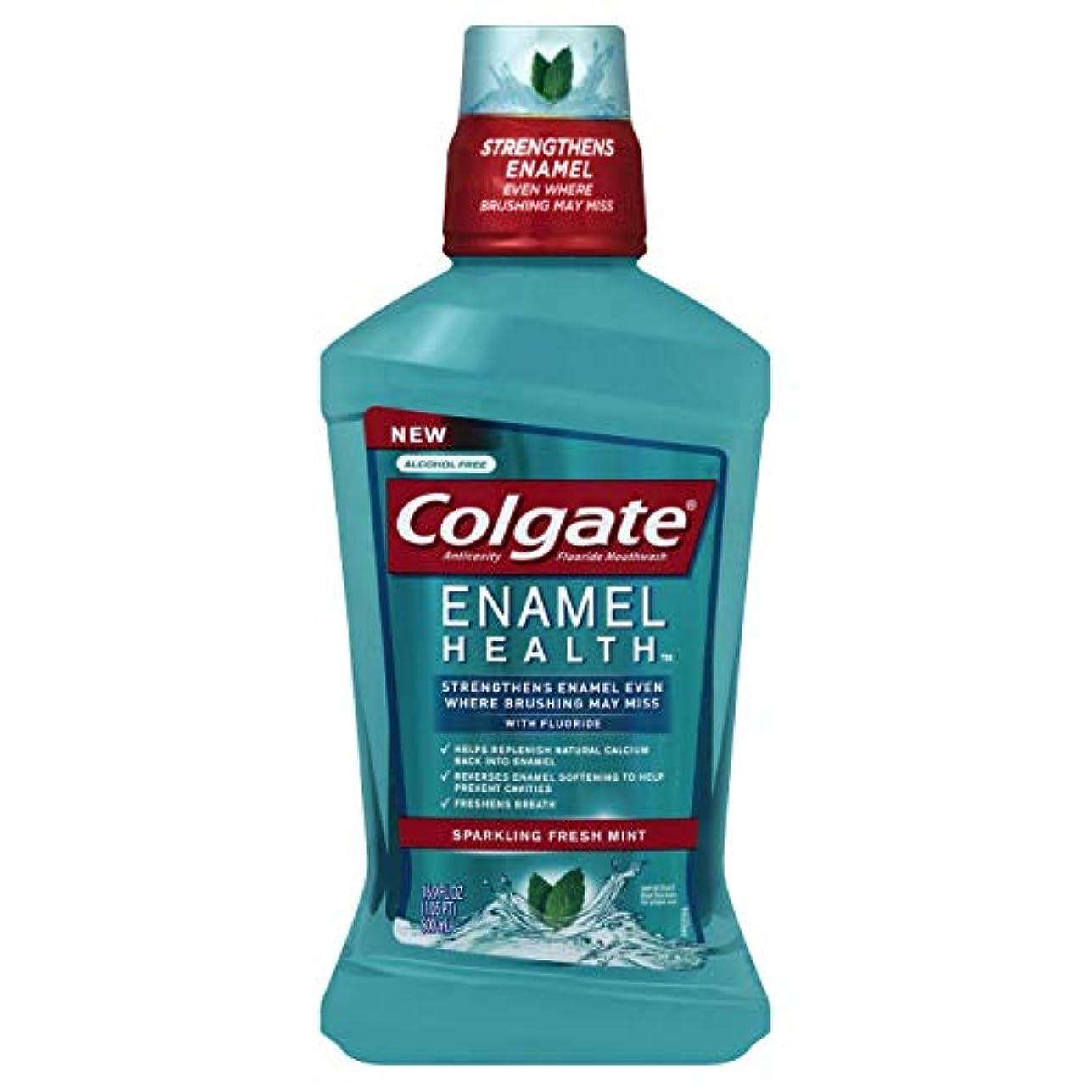 Colgate エナメル健康スパークリングフレッシュミント虫歯予防フッ素うがい薬、500ミリリットル - 6パック