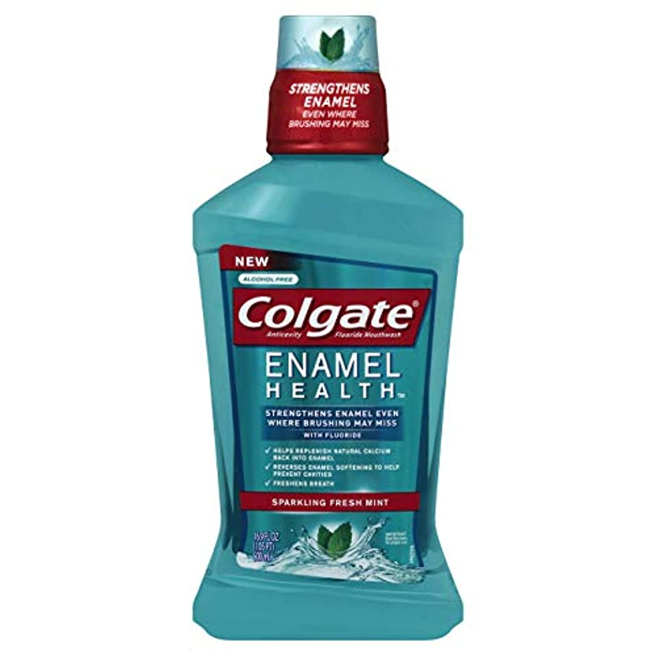 ぬるいファッションすぐにColgate エナメル健康スパークリングフレッシュミント虫歯予防フッ素うがい薬、500ミリリットル - 6パック