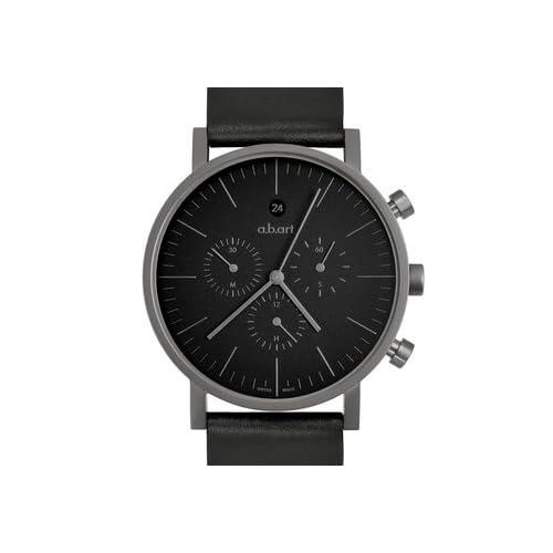 エービーアート a.b.art Men's Quartz Watch with Black Dial Chronograph Display and Black Leather Strap OC202 男性 メンズ 腕時計 【並行輸入品】