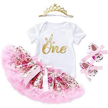 ab00967d6c549 YukeBaby 子供ドレス 女の子 ベビー 出産祝い 1歳 服 女の子 半袖 ロンパース チュチュスカート靴 クラウン(4枚セット)
