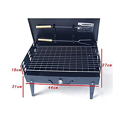 Skytower Folding Picnic Camping Charcoal BBQ Grill Adjustable Height Portable Garden Barbecue Grill Broiler Outdoor Cooking Tool