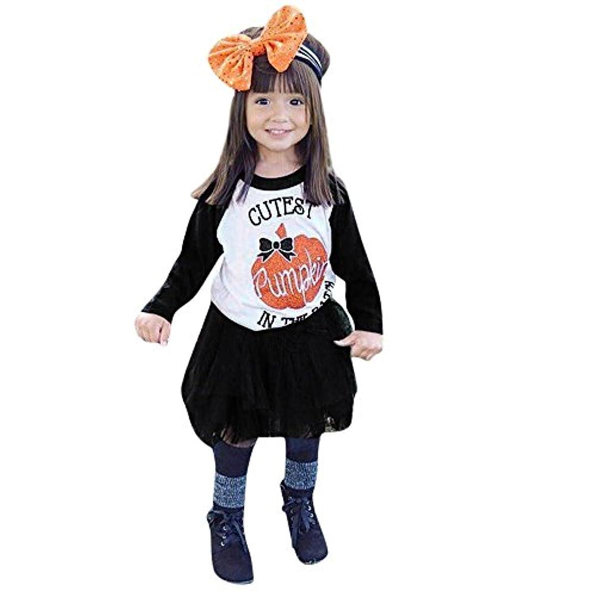 警官空港バーベキューBHKK 子供 幼児の女の子2PCSカボチャのトップス+トゥトゥスカートハロウィーンの装飾の服 12ヶ月 - 4歳