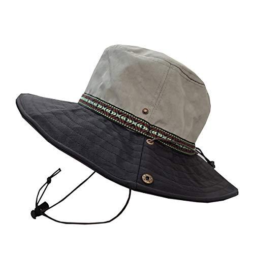SUNS(サンズ)アドベンチャーハット サファリハット レインハット 帽子 ハット 登山 撥水 防水 メンズ レディース サイズ調整 UVカット アウトドア カラフル あご紐 H-053 (GY/BK)