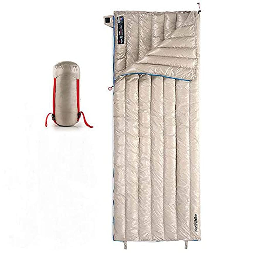 慎重に調整可能オーラルLIUSIYUグースダウン封筒寝袋、柔らかい寝袋ライナー、コンプレッションサック、ポケットとホワイトダックダウン、冬のアウトドアキャンプ用