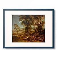 ピーテル・パウル・ルーベンス Peter Paul Rubens 「Landschaft mit Fuhrwerk bei Sonnenuntergang, 1635.」 額装アート作品
