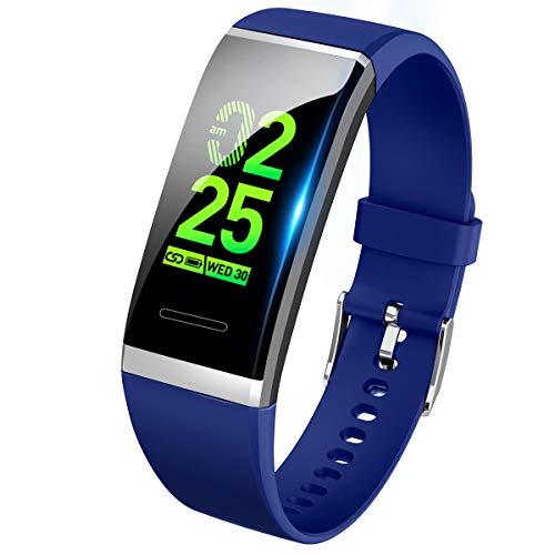【最新版】 スマートウォッチ 血圧 心拍 歩数計 スマートブレスレット カラースクリーン 活動量計 防水 ランニングモード 消費カロリー 睡眠検測 アラーム 電話着信/SMS/Twitter/WhatsApp/Line通知 長い待機時間 iphone&Android対応 日本語説明書 (ブルー)