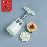 50g / 75g 3Dバラ花アニマルMooncake金型1バレル+スタンプセットハンド圧力フォンダンムーンケーキ金型DIYベーキングアクセサリー:50G 1M1Pウサギ