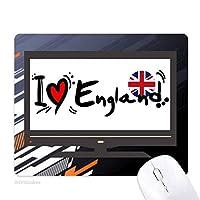 私はイングランド語フラグラブ・ハートのイラストが好きです ノンスリップラバーマウスパッドはコンピュータゲームのオフィス