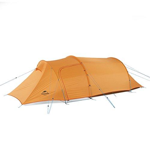 Naturehike公式ショップ テント 3人用 超軽量 ツールーム トンネル型 (オレンジ(210T チェック柄のナイロン生地))