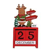 VORCOOL かわいいエルクの装飾 デスクトップ 木製ブロック 永久カレンダー デスクアクセサリー シックナンバー 家庭 オフィス 装飾用 (レッド)