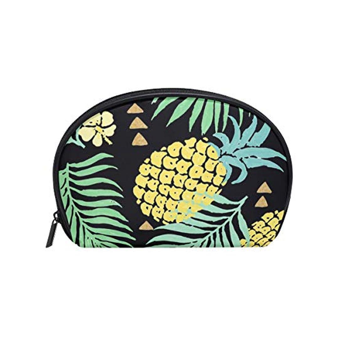ゴールド確認してくださいメンダシティ半月形 化粧ポーチ トロピカルハワイのパイナップル 化粧品 大容量収納 メイクポーチ ポーチ 旅行 出張 仕事 [並行輸入品]