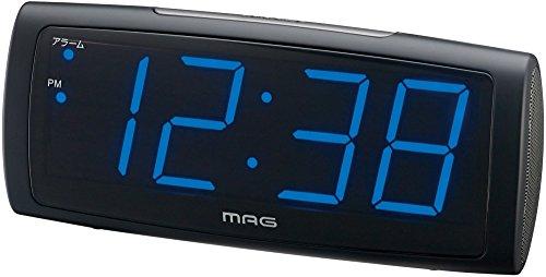 MAG(マグ) 目覚まし時計 タイムブルー ブルーLED表示 AC電源 ブラック T-681BK