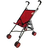 My First Doll Stroller for Kids - Super Cute Doll Stroller for Girls - SUPERIOR QUALITY Red Quilted Fabric- NEW LUXURY COLLECTION - Doll Stroller Folds for Storage - Great Gift for Toddlers by The New York Doll Collection