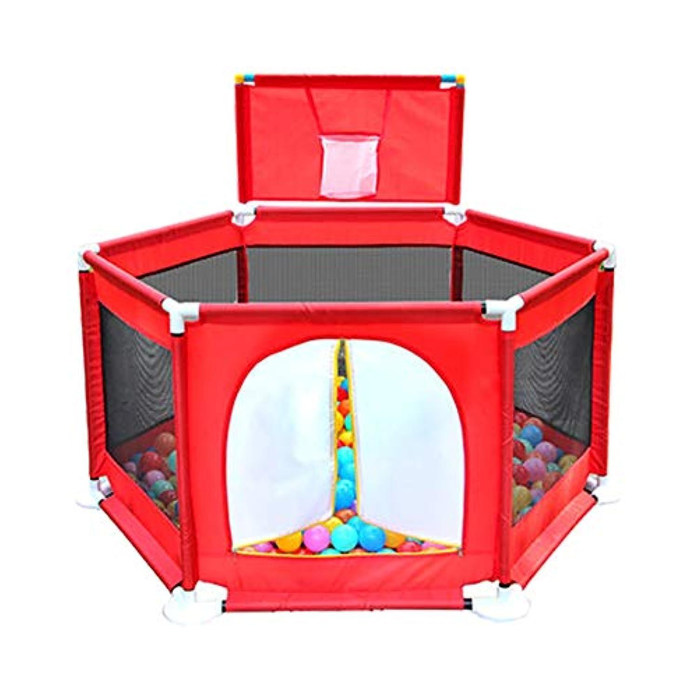バスケットシューティングボックスと赤い赤ちゃんの遊び場アンチロールオーバーアンチコリジョン幼児遊び場ボールとドアで遊ぶゲームのフェンス