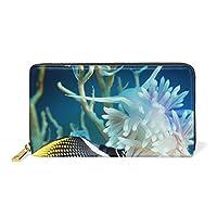 UKIO(ユキオ) 財布 レディース 二つ折り 長財布 本革 人気 収納 海底 魚 美しい かわいい 大容量 多機能 高級 人気 おしゃれ