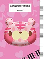 """Music Notebook Wide Staff: Cute Pink Tiger Cat Face and Heart,Piano Keyboard/Blank Music Sheet Notebook,Big Staff Paper,Music Manuscript Paper,6 Large Staves per page,8.5""""x11"""",100 Pages,For Boys,Girls, Kids, Beginners."""
