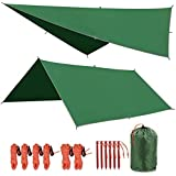 "REDCAMP Waterproof Camping Tarp - 36""x83""/55""x83""/71""x83""/82""x82""/95""x83"", 4 in1 Multifunctional Tent Footprint for Camping,"
