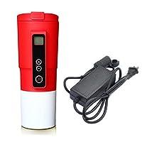 暖房スマートトラベルマグ、12V車の電気ケトル温度制御付きステンレス鋼の真空断熱沸騰水車の電気カップコーヒー茶ミルク加熱マグ (Color : Red)