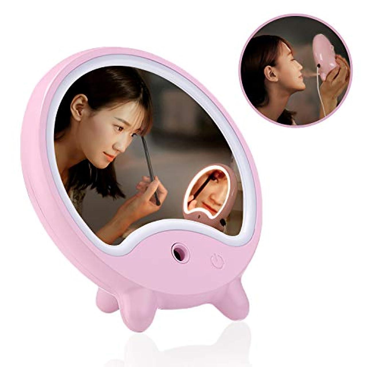 応答有名人マイルドsewobye化粧鏡 卓上ミラー 鏡 補水保湿鏡スタンド式ミラーLED USB充電にナノスプレーが付いているので、お肌に潤いを与えることができます (ピンク)