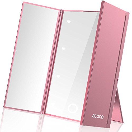ACOCO鏡 女優ミラー 折り畳み式卓上三面鏡 LEDライト付き 明るさ調節可 ...