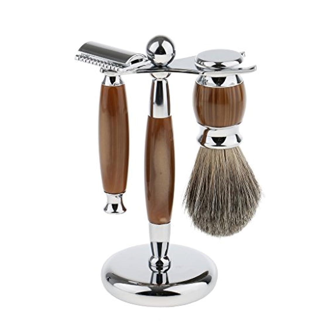 見える思い出させる変化するBaoblaze 3点入り シェービング スタンド ブラシ マニュアル ダブルエッジ 髭剃り メイク レトロ プレゼント 3色選べ - タイプ3
