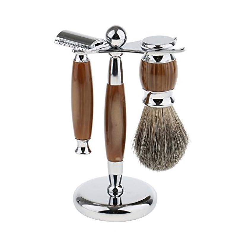 未亡人誰でも孤独Baoblaze 3点入り シェービング スタンド ブラシ マニュアル ダブルエッジ 髭剃り メイク レトロ プレゼント 3色選べ - タイプ3