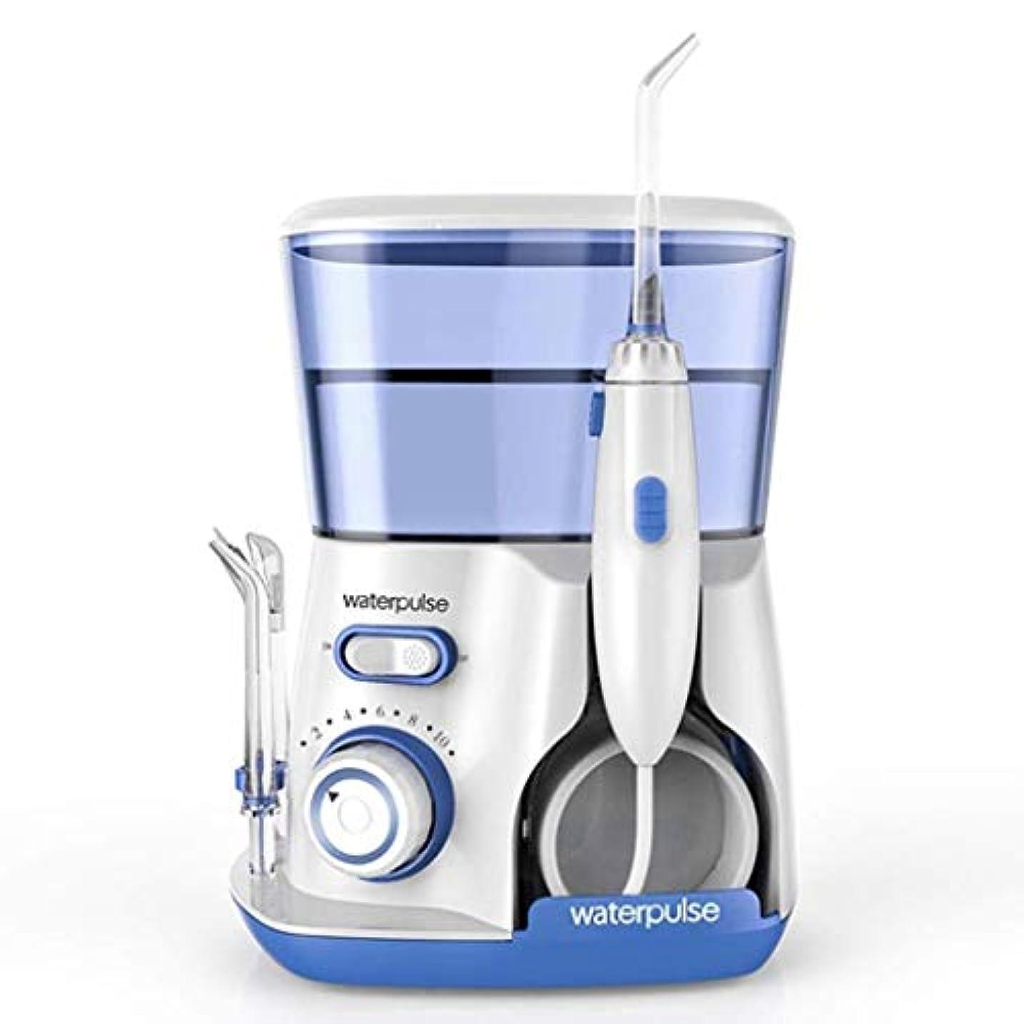 行う自由舌な歯科洗浄機、電動歯洗浄機、ポータブル家庭用口腔洗浄機、5つのノズル付き800ML、360度の洗浄 (Color : V)