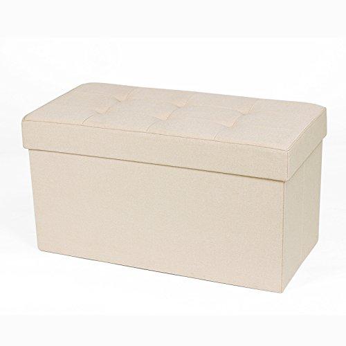 Songmics 収納スツール 収納ベンチ 折りたたみ 収納ボックス おもちゃ箱 オットマン フタ付き 座れる 二人掛け 76×38cm ベージュ NLSF40M