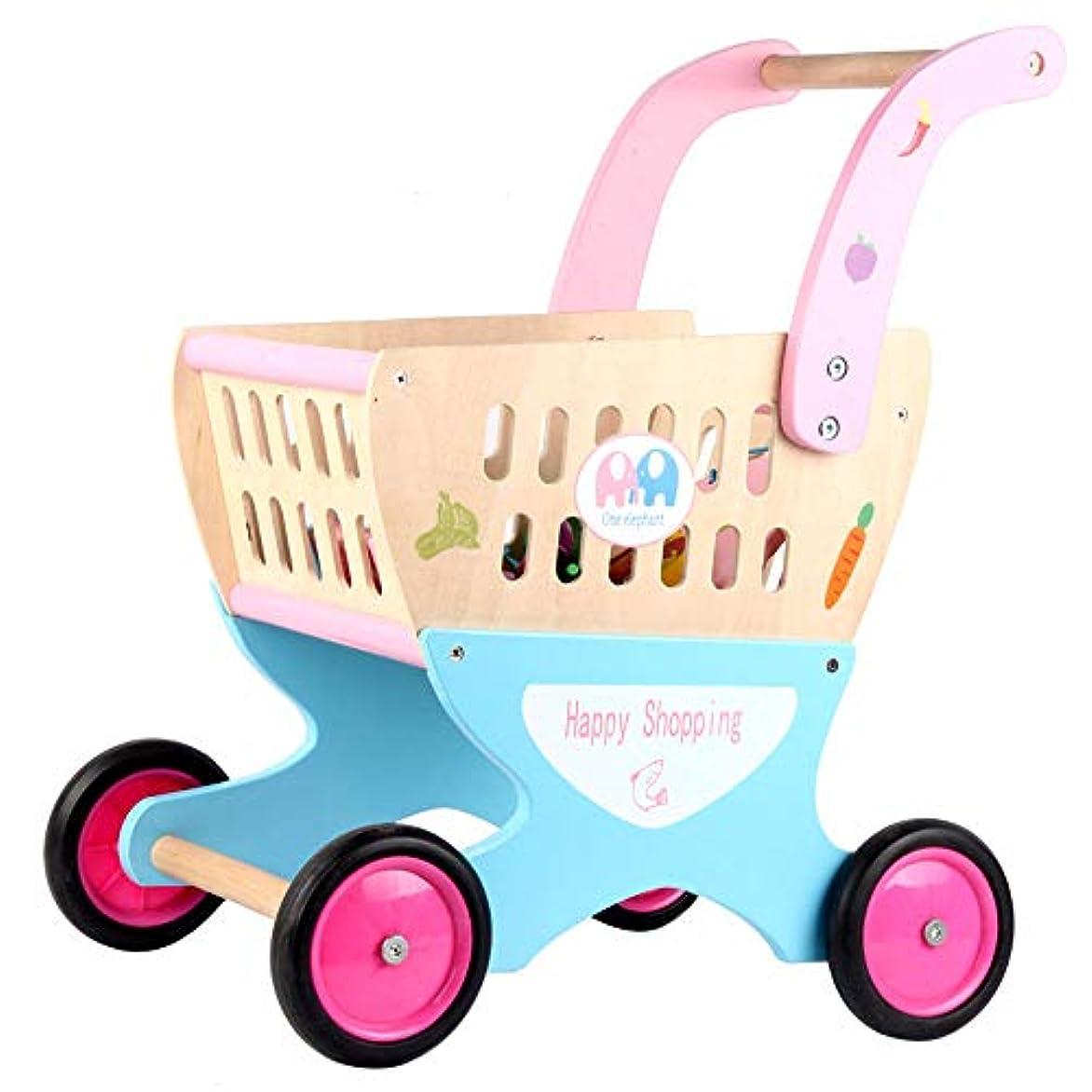ベリー温度計トピックおもちゃの食べ物が付いているおもちゃの買物車 - 3-6歳の男の子、女の子のための子供の買物車のトロリー安全で楽しい子供の木のおもちゃ