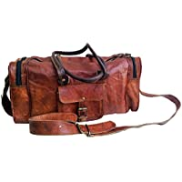 "Jaald 18"" Leather Duffle Bag Travel Carry-on Luggage Overnight Gym Weekender Bag"