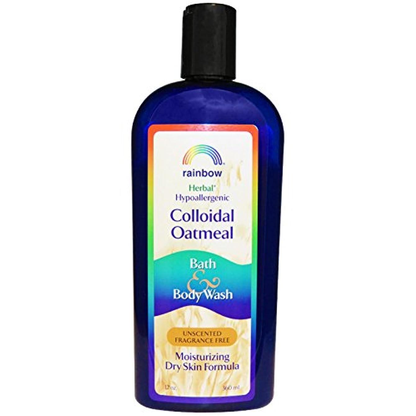 採用するゴム有名なRainbow Research, Colloidal Oatmeal Bath & Body Wash, Unscented Fragrance Free, 12 oz (360 ml)