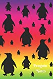 Penguin Notes: Colorful Pink, Yellow, Green and Purple Rainbow Watercolors and Penguins 6