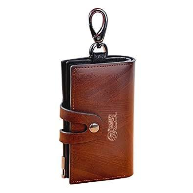 DOUGUYAN メンズ 6連キーケース リング付き キーホルダー カード入れ 小銭入れ 牛革 ブラウン YSB003