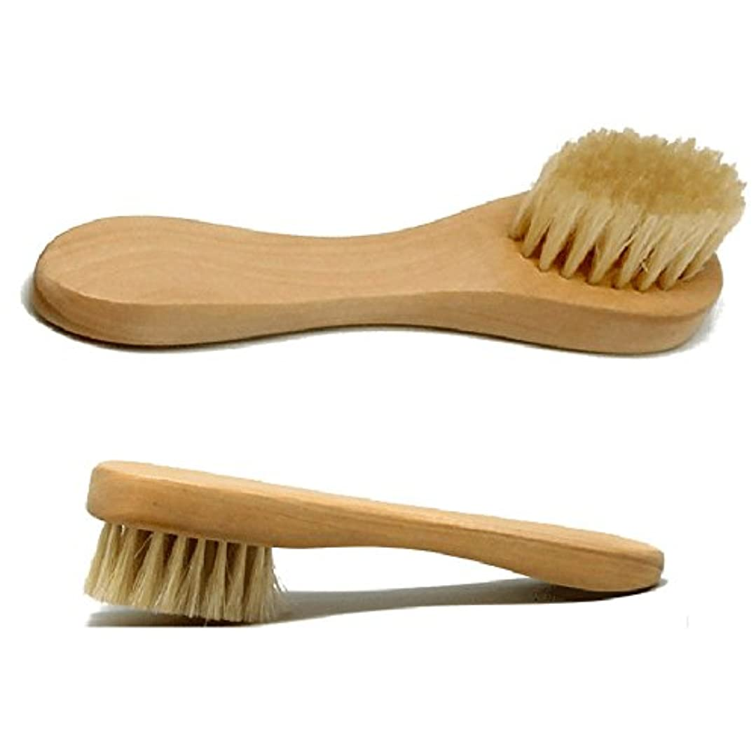Hrph 洗顔ブラシ フェイスブラシ 木柄 豚毛