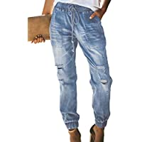 GOSOPIN Women High Waist Rose Embroidered Destroyed Ripped Skinny Jeans Distressed Denim Pants