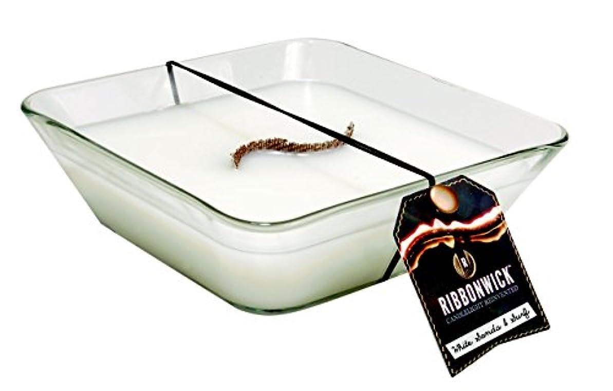 移行する当社おもてなしRibbonWick WHITE SAND & SURF, Highly Scented Candle, Square Decor Glass, Large 20cm, 840ml