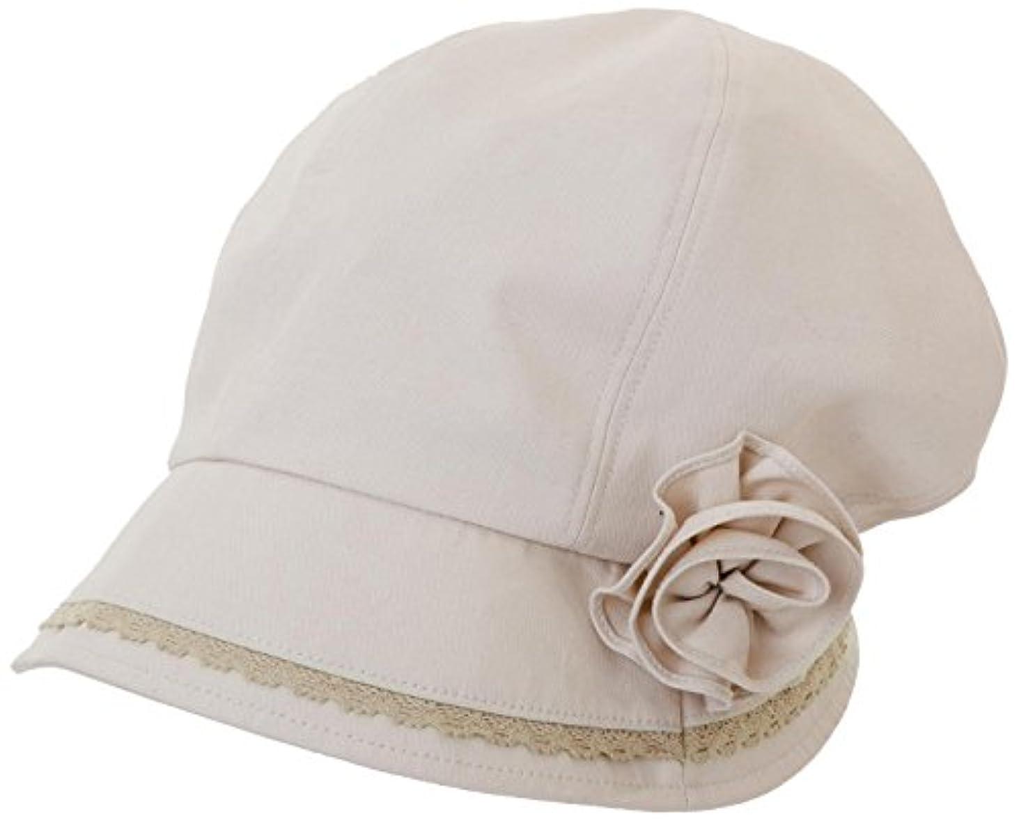 スパンオーガニック接続されたUVふんわり小顔帽子 ベージュ